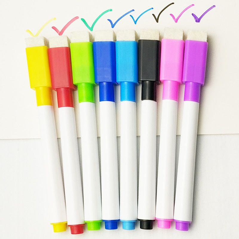 5/8 unids/lote bolígrafo de pizarra blanca color negro para clase escolar marcadores de pizarra blanca seca con borrador integrado pluma de dibujo para niños y estudiantes