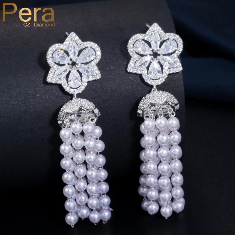 Pera lujo diseño refinado largo perla simulada Tessal gota oreja joyería elegante mujeres boda fiesta pendientes de circonia cúbica E200