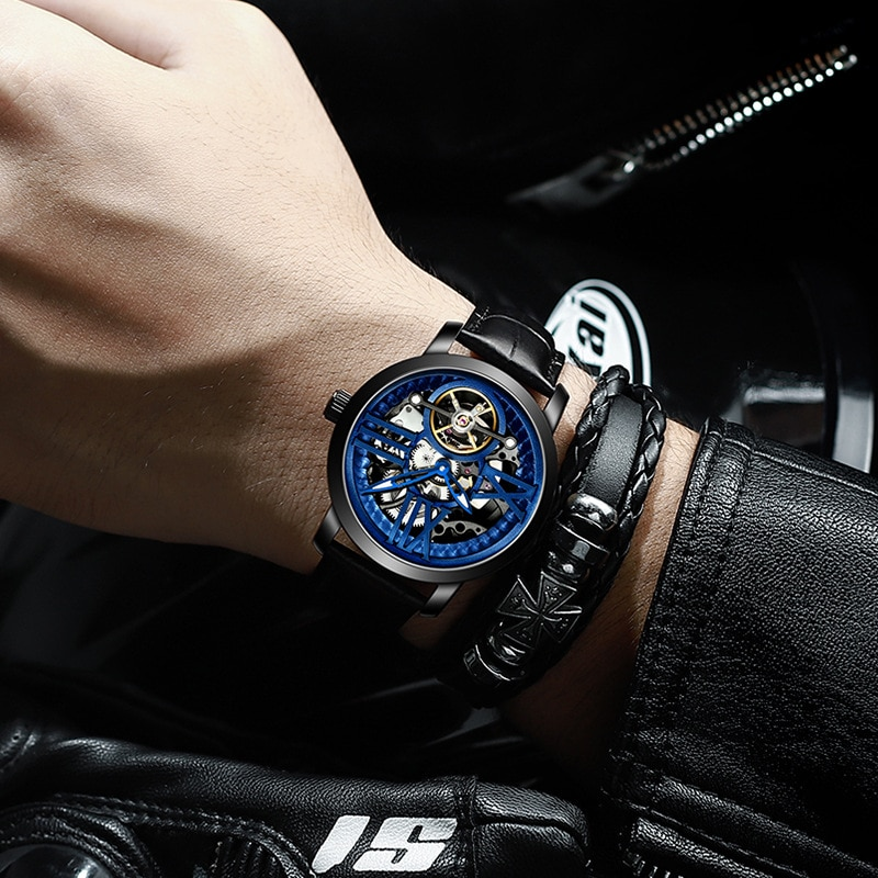 AILANG New 30M Waterproof Men's Hollow Mechanical Business Luminous Automatic Double Sided WatchStrap Leather Strap 6811LM enlarge