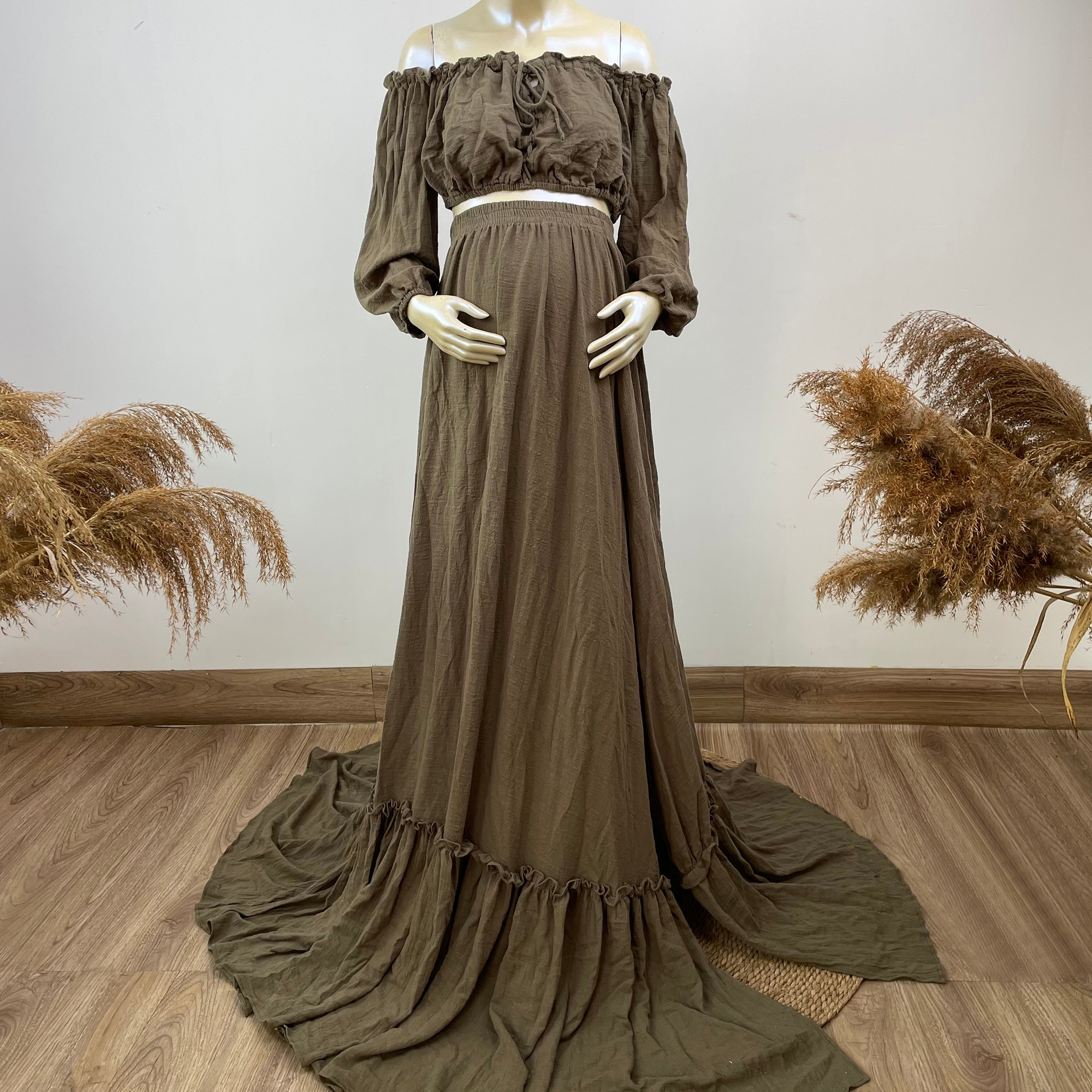 A Suit Cotton Kaftan Photo Shoot Props Full Sleeves Robe Maternity Dress Evening Party Costume for Women Photography Accessories enlarge