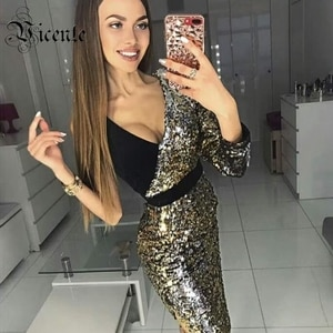 Clearance Sale ! VC Hot Chic Gold Sequins Design Sexy One Shoulder Long Sleeve Celebrity Party Club Mini Dress