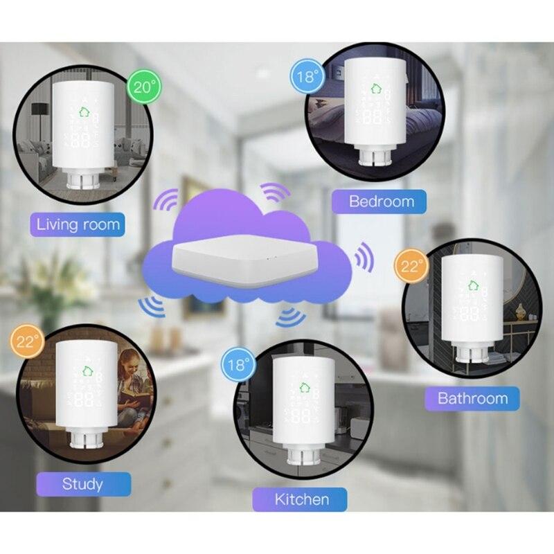 TUYA Zigbee3.0 Wifi TRV Thermostat Thermostatic Radiator Actuator Voice Control G8TB