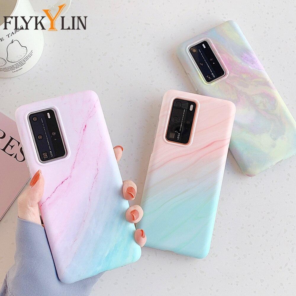 Funda de teléfono FLYKYLIN clásica con gradiente iridiscente mármol para Huawei P40 P40 Lite P40 Pro, funda mate de silicona suave IMD