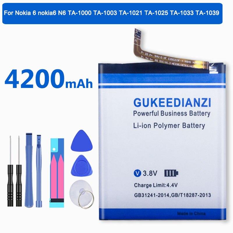 GUKEEDIANZI телефон HE316 емкость литиевой батареи 4200 мАч для Nokia 6 Nokia6 N6 TA-1000 TA-1003 TA-1021 TA-1025 TA-1033 TA-1039 TA-
