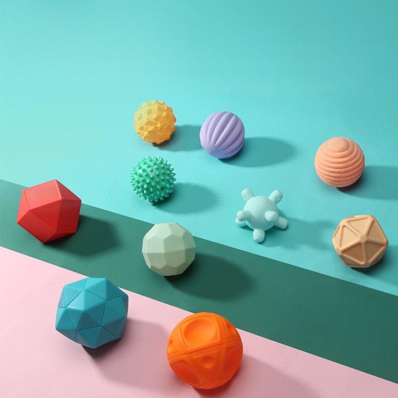 Bolas de juguete de goma suave con textura de bola táctil 6-10 Uds mordedor masajeador sensorial agarre de la mano con sonido juguetes para niños