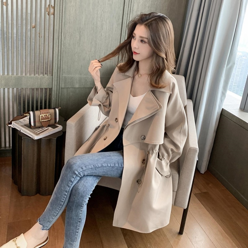 2021 New Women Trench Coat Autumn Lapel Double Breasted Drawstring Light Weight Casual Mid Long Ladies Windbreak Coats Plus Size