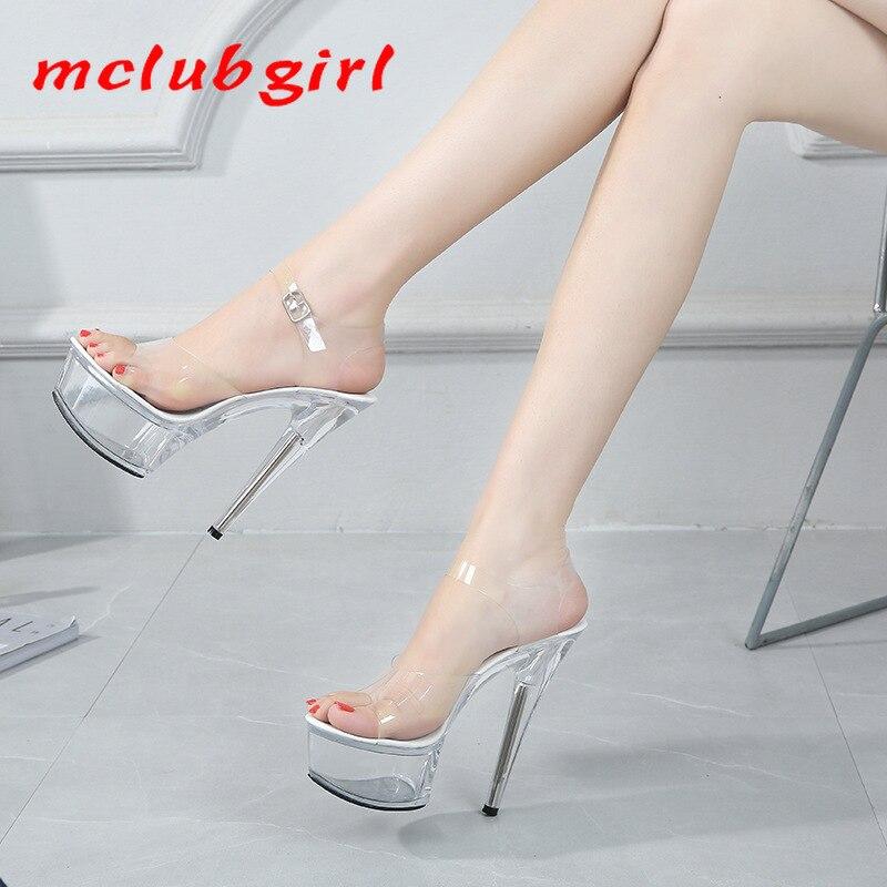Mclubgirl 34-43 Summer Sexy Super High Heels 15CM Stiletto Waterproof Platform Sandals Transparent C