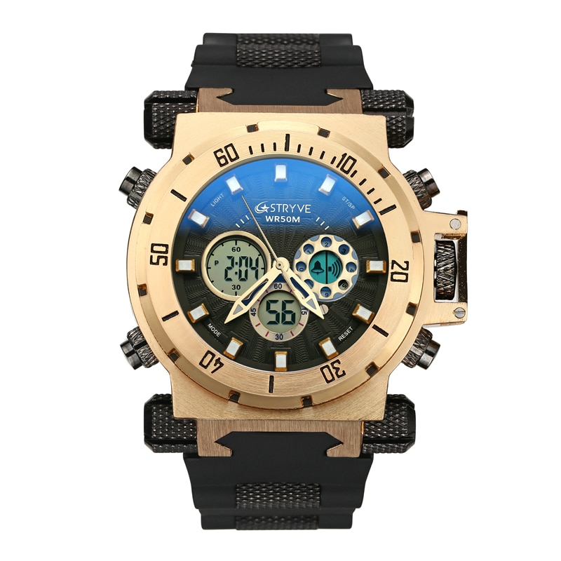 5ATM Waterproof Mens Diving Watches Sport Brand Luxury Golden Led Digital Chronograph Fashion WristWatch Relogio Masculino Gift