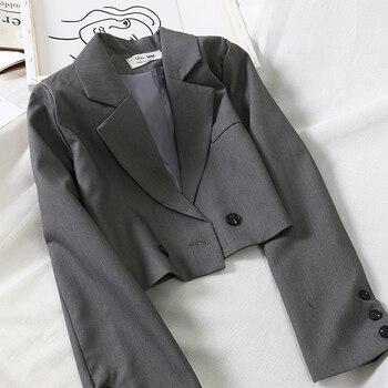Abrini Solid Feminine Coat Autumn Winter Short Blazer Elegant Slim Official Ladies Jackets Woman Tailor With Buttons 2021