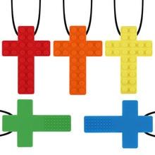 1PCS 무지개 벽돌 씹는 목걸이 아기 실리콘 Teether 자폐증 감각 씹는 치료 도구 아이 질긴 장난감 베이비 케어 BPA 무료 구슬