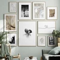 Абстрактные линейные фигуры, постер, настенное искусство, холст, печать, живопись, минималистский ретро стиль, черно-белый Декор для дома, сп...