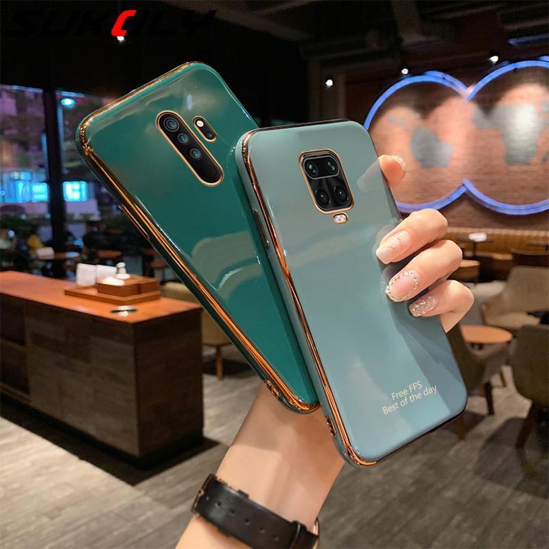 Luxury Plain Gold Plating Phone Case for Xiaomi Redmi Note 9 9s 8 7 Pro 8A Mi 10 Pro Note 10 Lite Glitter Soft TPU Silicon Cover