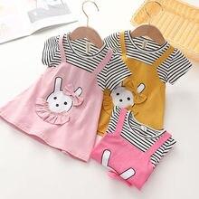 Vidmid bébé infantile filles robe dessin animé ours poche velours côtelé robe printemps automne enfants enfants vêtements vêtements rayés P497