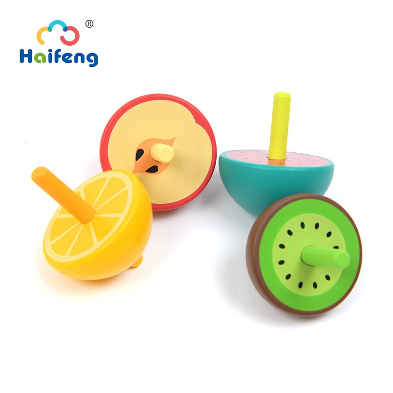 Bebé fruta lindos Top pequeño juguetes de madera para niños giroscopio que gira Tops juguetes para niños de la ciencia