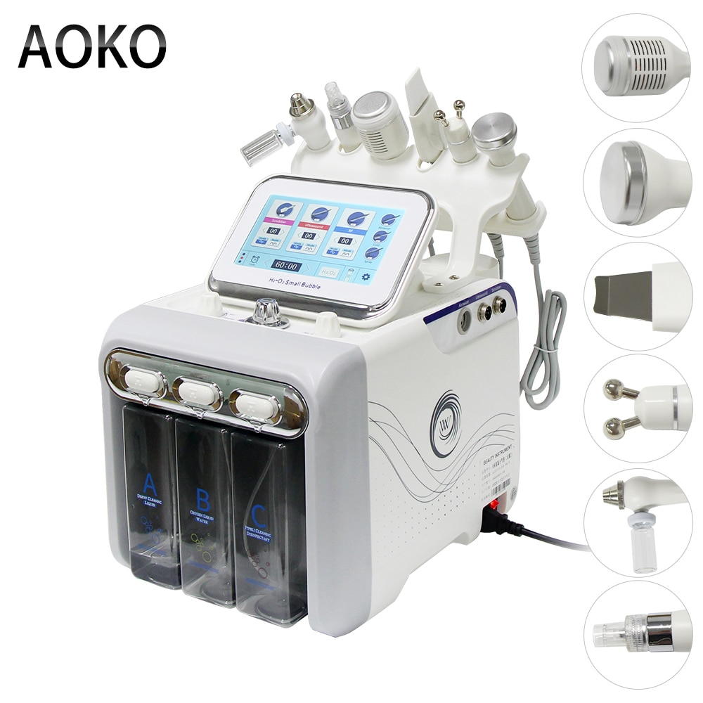 AOKO Upgrade 6 in 1 Hydrogen Oxygen Small Bubble RF Beauty Instrument Face Lifting Dermabrasion Device Skin Scrubber Facial Spa