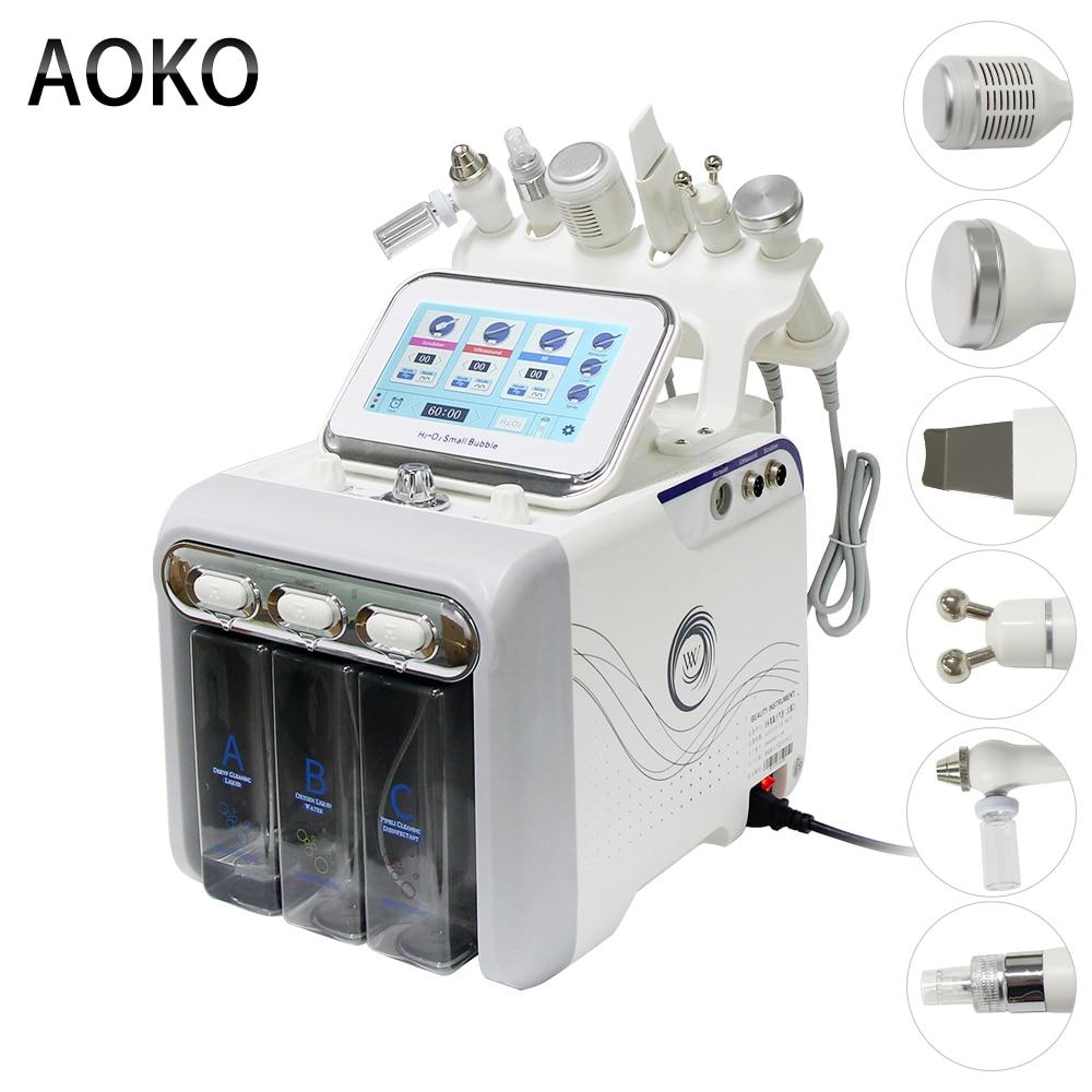 جهاز تجميل بفقاعة صغيرة بالأكسجين الهيدروجين 6 في 1 من AOKO جهاز تجميل للوجه جهاز تنظيف الجلد والوجه والوجه