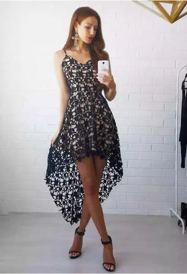 Summer Fashion Women Sling Dresses Casual Backless Dress Ladies Floral Lace DressSwallowtail Dresses Slim Beach Dress
