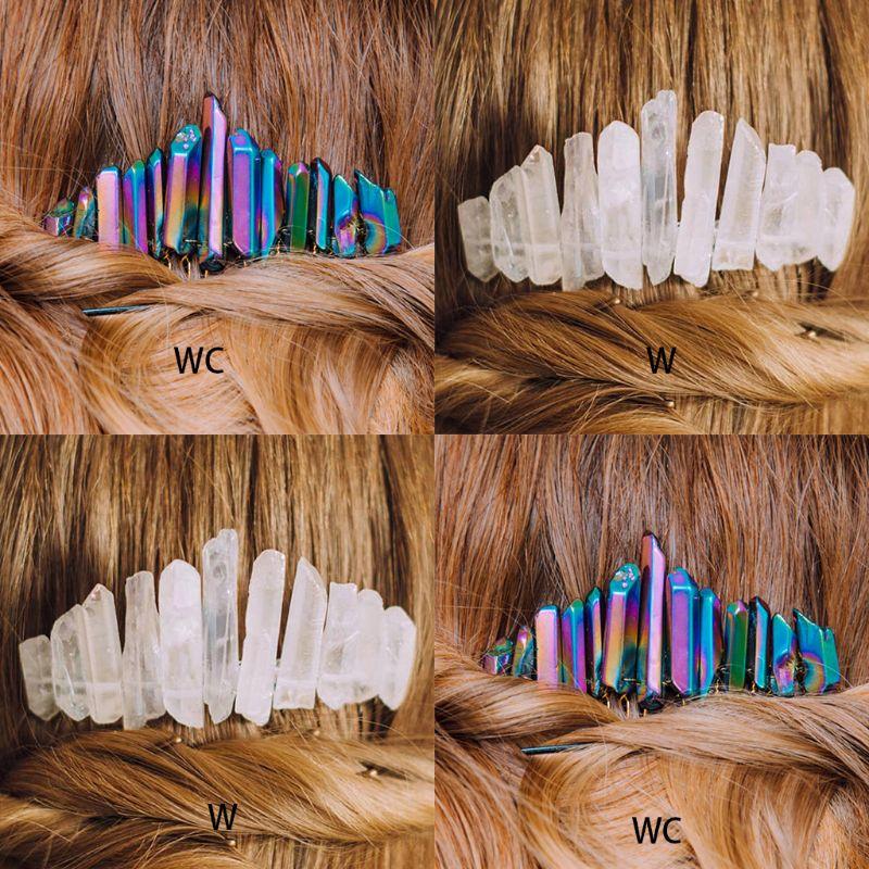 Colorida peineta holográfica hecha a mano de cristal en bruto peineta lateral para pelo, boda, Festival, sombrerería de fiesta, cola de caballo decorativa, horquilla con Clip