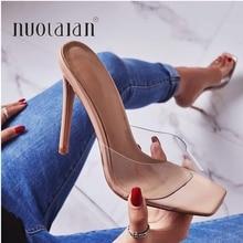 2020 été pompes Sexy PVC pantoufles sandales chaussures femmes mince talons hauts bout ouvert sandale dame pompe chaussures Mules taille 35-42