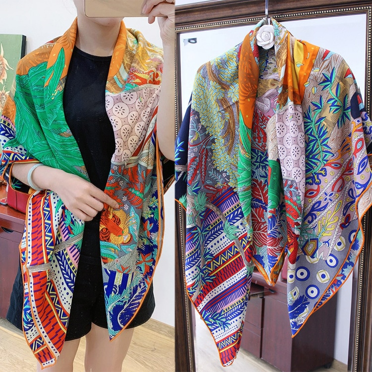 Pure Silk Cashmere Square Scarf Scarves for ladies shawl Sun Printed Pashimina Luxury Brand Design Handrolled Hem