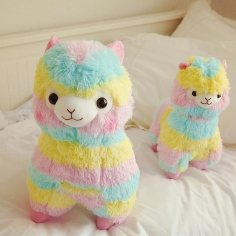 20cm suave algodón Arco Iris Alpaca peluche muñeca Rainbow Horse Lama animales juguetes para niños cumpleaños regalos de navidad