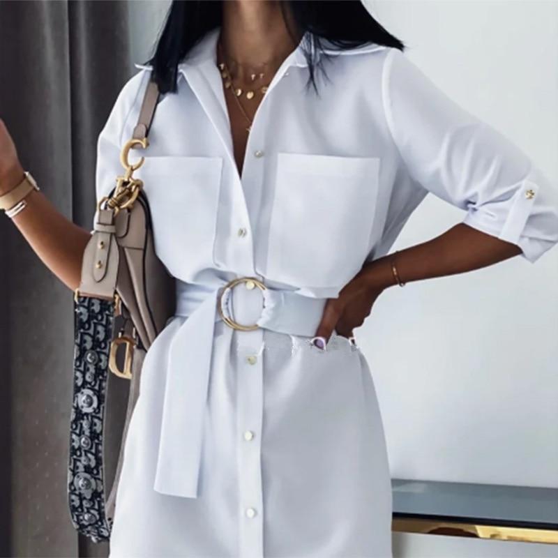 AliExpress - Women Vintage Front Pockets Sashes A-line Dress Three Quarter Sleeve Turn Down Collar Solid Elegant Dress 2020 Autumn Dress