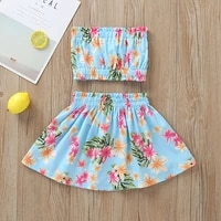 1 2 3 4 years infant girls summer flower outfit clothes set topskirts dress 2 pcs children clothing kids girls costume