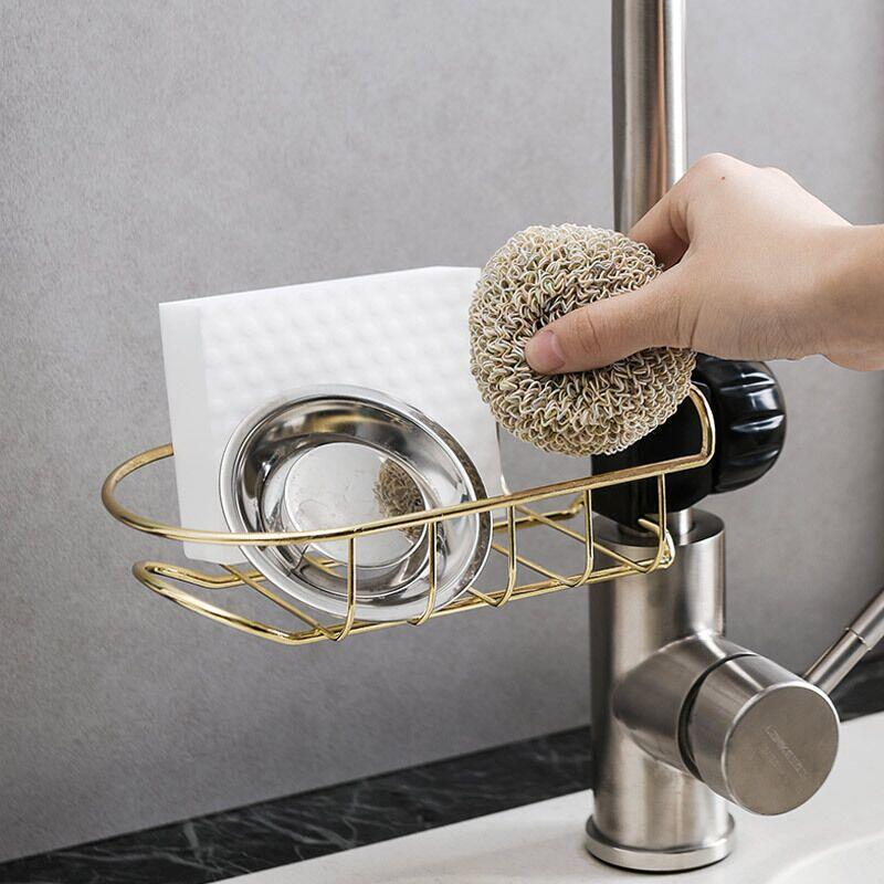 1 Uds estilo japonés grifo de hierro estante de almacenamiento de la piscina ponche gratis esponja para fregadero de cocina hollow out drain rack
