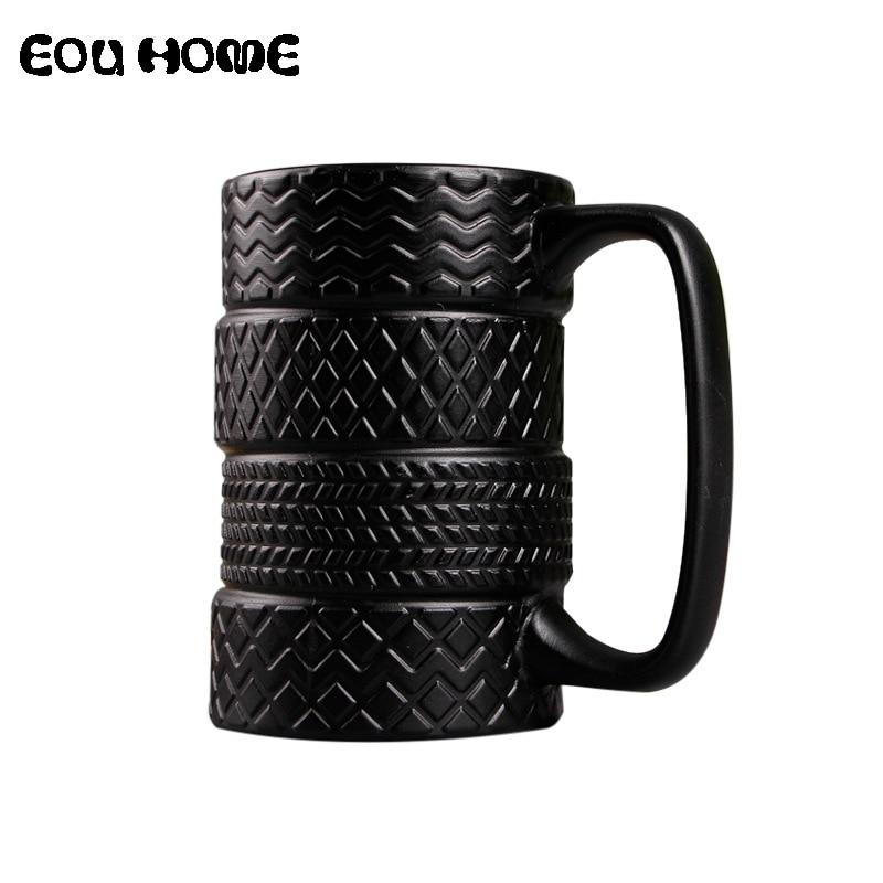 Tazas creativas de estilo del neumático de 300ml, tazas de cerámica Mack de gran capacidad, taza de café de té de la leche con personalidad, taza de café antideslizante para oficina/hogar
