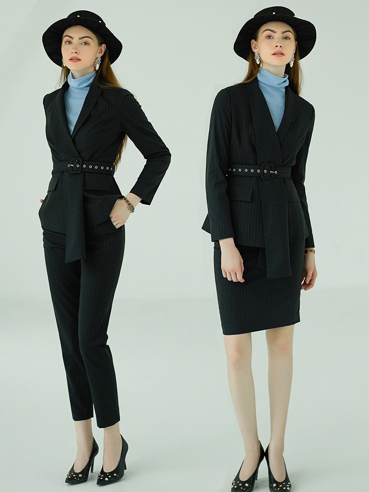 Conjunto de trajes de oficina para mujer, traje profesional de negocios para mujer de talla grande, blazer de rayas negras, pantalón hecho a medida 2019, envío gratis
