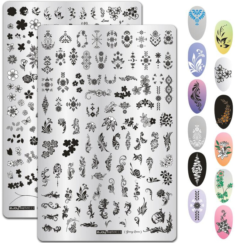 9.5*14.5CM Leaves Flowers Pattern Nail Stamping Plates Image Painting Nail Art Stencils Template Manicure Nail Stamp Tools 1pcs black flower lace nail stamping plates stainless steel nail art stamp template manicure tools uv gel nails art decorations