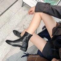 springautumn concise solid color womens boots flat heel side vamp zipper office career dress women shoes mature elegant