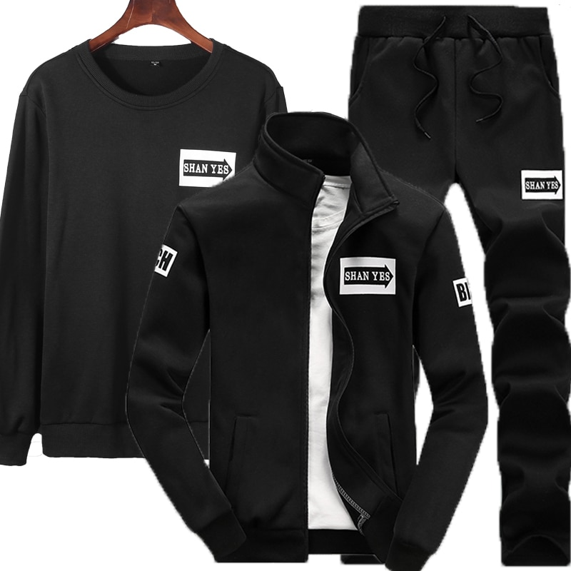 3 piezas conjuntos (chaqueta + Pantalones + sudaderas con capucha) chándal hombres...