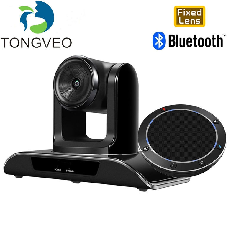 TONGVEO HD 1080P Fixed Focus Camera 8MP 138° Wide Angle with Bluetooth USB Conference Speakerphone VoIP Softphones