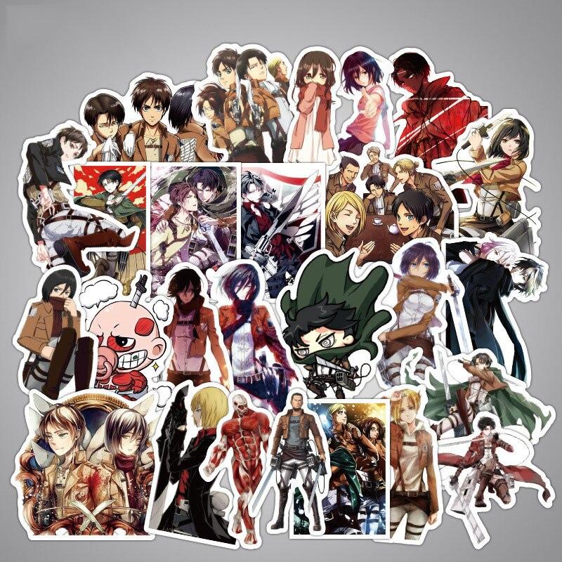 Pegatinas de dibujos animados de Anime de 39 Uds. De ataque a los Titanes, pegatinas de la Legión de exploración de las alas de la libertad para cubierta de carrito, decoración para monopatín