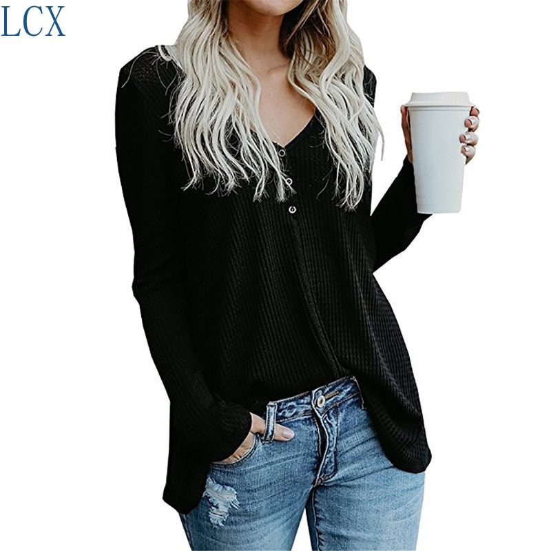 Pure color button V-neck long sleeve blouse  for women in 2019 sweater women  winter clothes women