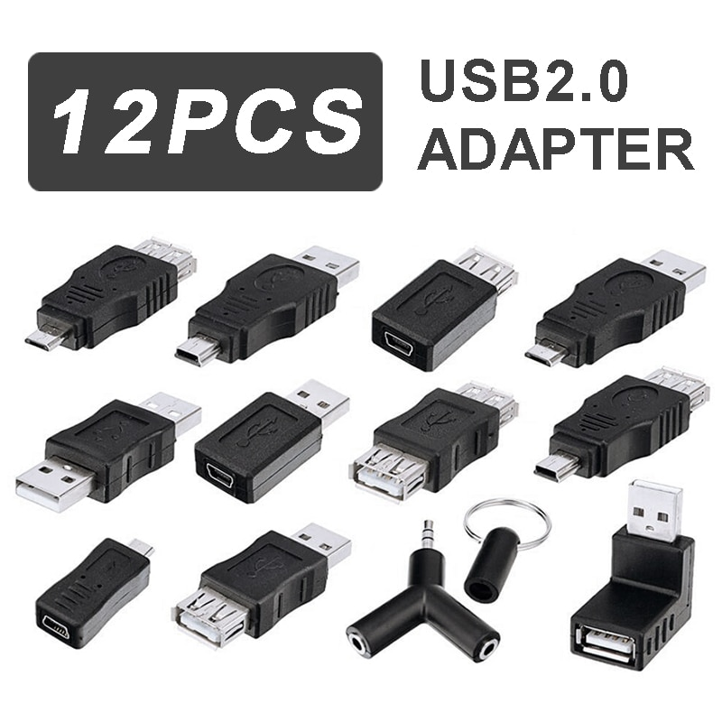 For Mouse/External Storage/Micro SD 1pc High Speed USB 2.0 Couplers Set 3.5 mm Stereo Audio Y Splitter OTG Adapter Converter