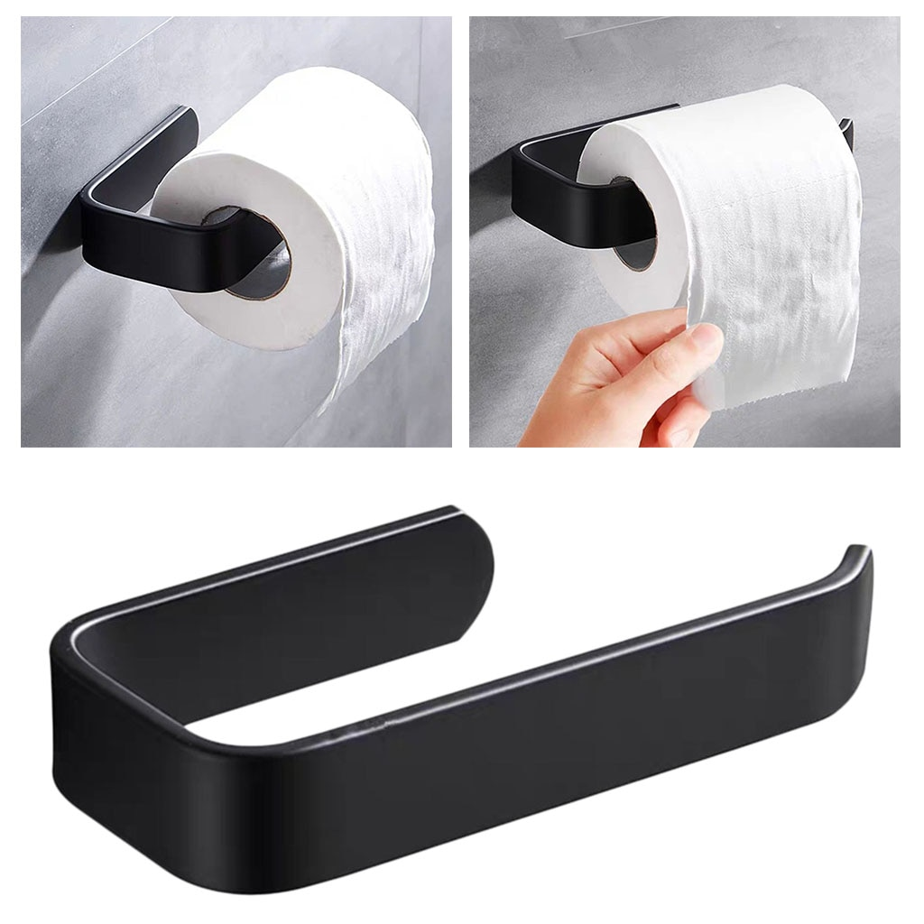 Acrylic Toilet Paper Holder Tissue Rack Wall Mounted Bathroom Kitchen Roll Holder Paper Tissue Rack Hook Modern Black Hanger