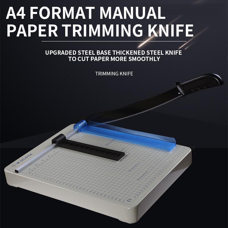 DC-8104 A4 تنسيق دليل الة قطع الورق الصغيرة متعددة الوظائف ورقة التشذيب سكين صور بطاقة الأعمال سميكة الصلب سكين