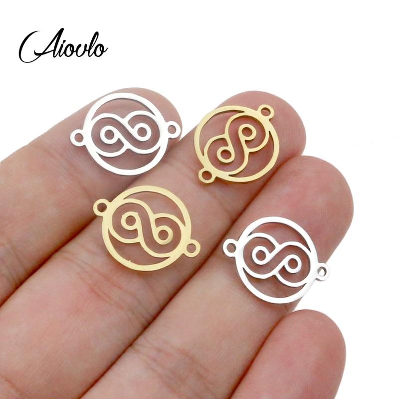 Aiovlo 5 teile/los Infinite Symbol Stecker Hohl Digitale 8 Charms Edelstahl DIY Halskette Armband Schmuck Machen Großhandel