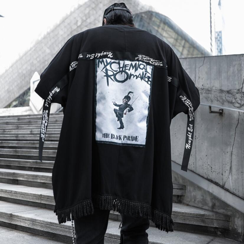 Men punk rock hip hop oversized t shirt ribbons patchwork tassel tee shirts man harajuku vintage funny tops cardigan