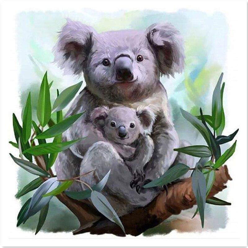 Kit de pintura de mosaico de diamantes Diy 5d, Koala madre e hijo en el árbol, bordado de diamantes, patrones de pared, arte para el hogar