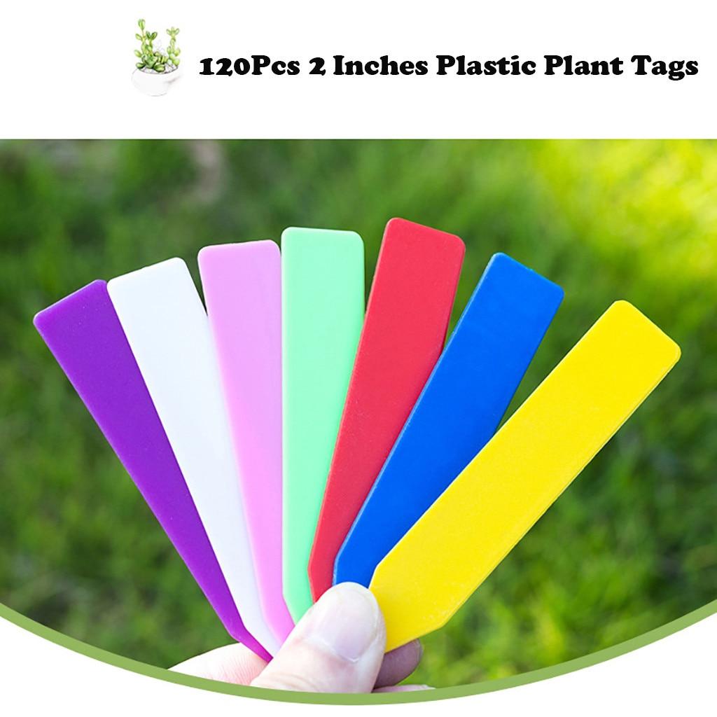 120PCs Plants Labels Indoor Bonsai Name Tag Plastic Multicolors Stake -type Kindergarten Flower Pot Plants Garden Ornaments