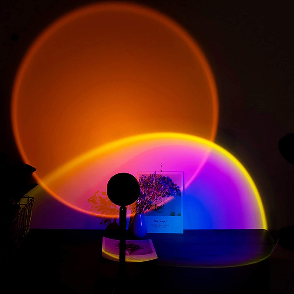 Sunset Projection Aesthetic Lamp USB Led Night Light Wall Lamp Photography Background for Home Living Room Bedroom Decoration