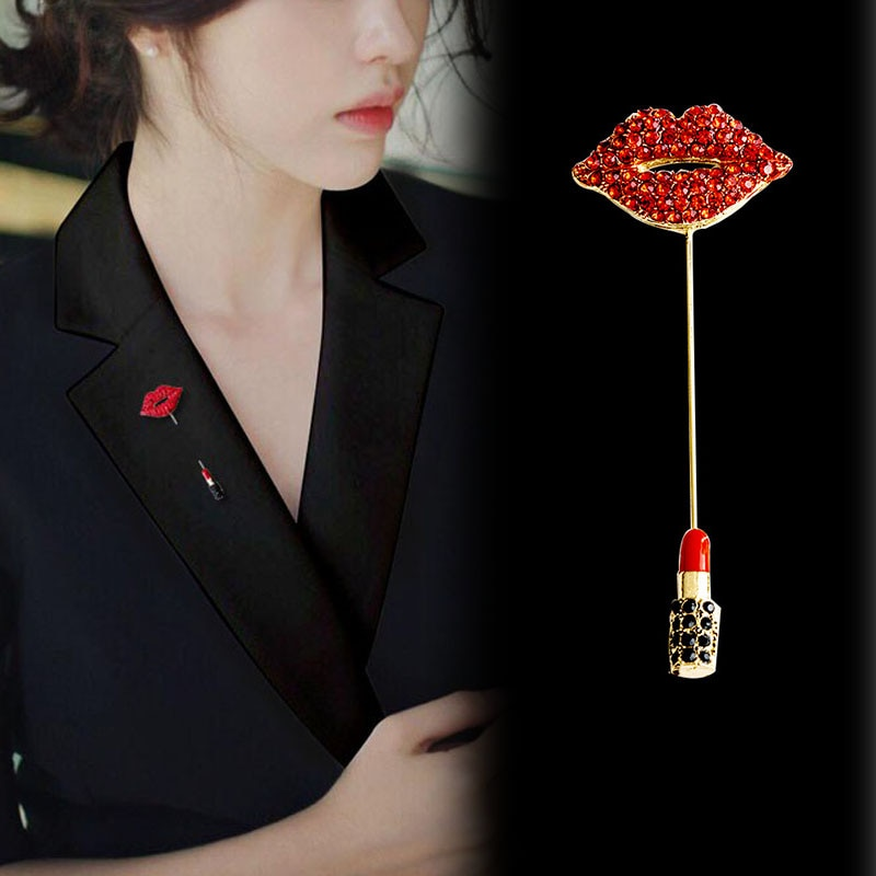 New Rhinestone Red Lips Brooches for Women Long Pin Brooch Lipstick Design Summer Dress Accessories Fashion Jewelry