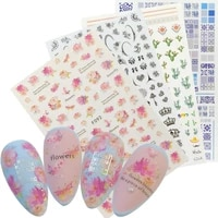 1 sheet 3d rose nail sticker blooming flower butterfly ultra thin adhesive decals for nails art decorations manicure accessories