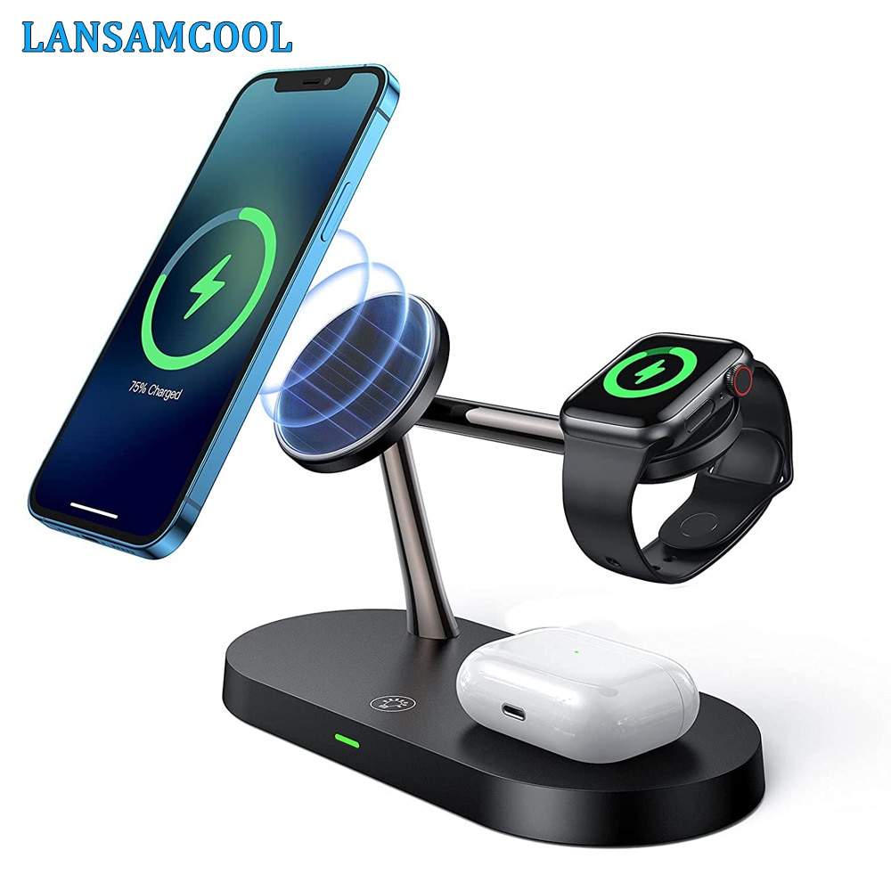 3 in 1 Magnetic Wireless Charger Stand For Magsafe iphone 12  Apple Watch 6 5 4 3 Airpods Pro Fast C