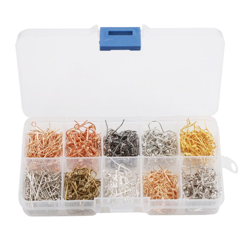 Gancho de oreja aguja de nueve caracteres 10 combinación de rejilla en caja DIY accesorios de joyería oro plateado pistola plateada negra oro rosa p