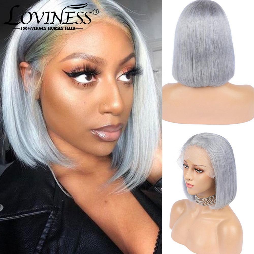 peruca de cabelo humano peruca cinza 13x4 parte frontal curto 180 de densidade com
