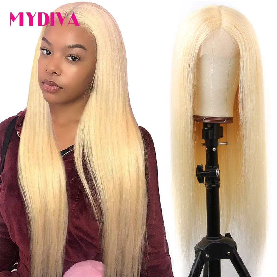 Glueless 613 Blonde Lace Front Human Hair Wig 13x4 Brazilian Straight Hair Transparent Lace Frontal Wigs Pre Plucked 10-30 Remy